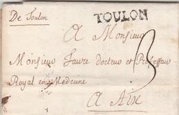 Lettre Marque Manuscrite + Tampon TOULON Var 12/1/1750 à Aix Bouches Du Rhône - Marcofilie (Brieven)