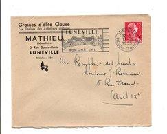 OBLITERATION MECANIQUE SUR LETTRE A EN TETE DE LUNEVILLE 1955 - Storia Postale