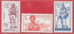 Mauritanie N°116 à 118 Armée Militaire Uniforme 1941 * - Mauritania (1906-1944)