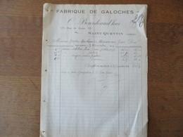 SAINT-QUENTIN  O.BOURDEAUD'HUI FABRIQUE DE GALOCHES 135 RUE DE GUISE FACTURE DU 7 NOVEMBRE 1924 - 1900 – 1949