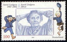 ALLEMAGNE ALEMANIA GERMANY DEUTSCHLAND BUND 2007 ASTRID LINDGREN (JOINT ISSUE SWEDEN) MNH MI 2629 YT 2451 SC 2462 SG 35 - Ungebraucht