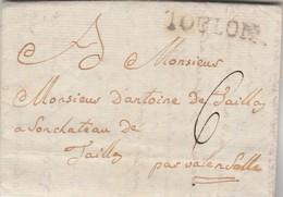 Lettre Privée Marque Postale TOULON Var 6/10/1783 à Château De Jaikllay ? Valensole Basses Alpes Scellé Armoiries - 1701-1800: Précurseurs XVIII