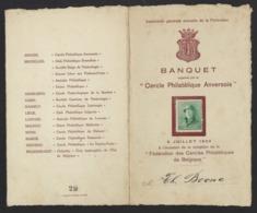 BANQUET * CERCLE PHILATELIQUE ANVERSOIS * 1922 * FED. CERCLES PHIL. DE BELGIQUE * TIMBRE ALBERT I * 18.5 X 11.5 CM - Menükarten