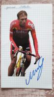 Guennadi MIKHAILOV Signée Adecco Lotto Sur Bristol Format 12,5 X 20 Cm - Radsport