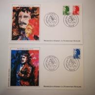 FRANCE FDC 2 Enveloppes 1er Jour NUMISMATIQUE Série MARIANNE DELACROIX 1984 - Collection Timbre Poste - 1980-1989