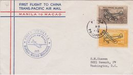 1937 Philippine Islands P.A.A. First Trans Pacific Flight Cover To Macao, China   ►RAR◄ - Philippines