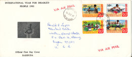 Antigua Barbuda Registered FDC 14-12-1981 Internatiuonal Year Forr Disabled People Complete Set Of 4 With Cachet Sent To - Antigua Et Barbuda (1981-...)