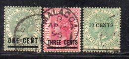 XP2830 - STRAITS SETTLEMENTS MALACCA , Tre Valori Soprastampati Usati  (2380A) - Straits Settlements