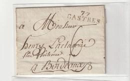 """Lettre Avec Marque """"77 /Castres"""" Pour Bordeaux Et Taxe 6 - Marcophilie (Lettres)"""