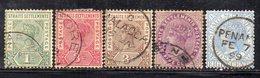 XP2890 - STRAITS SETTLEMENTS MALACCA 1892, Yvert N. 65/67+69+70 Usato  (2380A) Fil CA - Straits Settlements