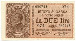 2 LIRE BUONO DI CASSA EFFIGE VITTORIO EMANUELE III 02/09/1914 QFDS - [ 1] …-1946: Königreich