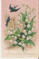 MUGUET Et HIRONDELLES. CPA Gaufrée Voyagée En 1906 Souvenirs Du Printemps - Blumen