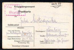 KRIEGSGEFANGENENPOST NAZI GERMANY THIRD REICH WW2 PRISONER OF WAR POW CAMP OFLAG IIC WOLDENBERG DOBIEGNIEW TO LVIV GG - Gevangenkampen