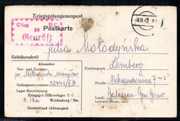 KRIEGSGEFANGENENPOST NAZI GERMANY THIRD REICH WW2 PRISONER OF WAR POW CAMP OFLAG IIC WOLDENBERG DOBIEGNIEW TO LEMBERG GG - Gevangenkampen