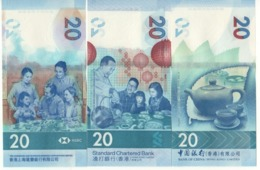 HONG KONG  New $ 20 X 3 Notes. Tea Pot Serie  Newly Issued. Date S 1.1.2018.  The 3 Different Banks - Hong Kong
