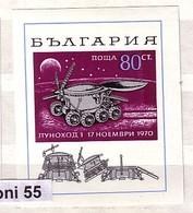 1970 Space Cosmos - Lunochod S/S-MNH  BULGARIA / Bulgarie - Bulgarie