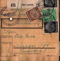 ! 1943 Paketkarte Deutsches Reich, Bad Lausick (R.A.D., Reichsarbeitsdienst) Nach Leipzig, Hindenburg Zusammendrucke - Allemagne