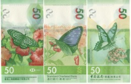 HONG KONG  New $ 50 X 3 Notes. Attractive Butterfly Serie  Newly Issued. Date S 1.1.2018.  (issued 2020)  3 Banks - Hong Kong