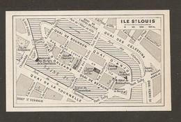 CARTE PLAN 1963 - PARIS - ILE De La CITÉ ILE SAINT LOUIS - HOTEL CHENIZOT HOTEL LAUZUN HOTEL LAMBERT - Cartes Topographiques