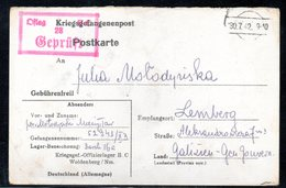 KRIEGSGEFANGENENPOST NAZI GERMANY THIRD REICH WW2 PRISONER OF WAR POW CAMP OFLAG IIC WOLDENBERG DOBIEGNIEW TO LWOW GG - Gevangenkampen