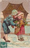 CARTE Gel Brillant Heureuse Année Enfants Sous Un Parapluie - Año Nuevo