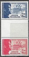 France  1942   Sc#B147a  Tricolor Legion Top Stamps MLH  Bottom Stamp MNH 2016 Scott Value $22.50 - Unused Stamps