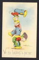 Totem Pole Acrobat Boys Having Fun  -  Mechanical Bend Back Stand-up Easel Pop-up Postcard - Mechanical