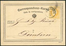 ÖSTERREICH CORRESPONDENZKARTE 1875, FINGERHUT STPL K1 RANKWEIL, CV 45,- TOPP! - Marcophilie - EMA (Empreintes Machines)