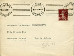 SURESNES BANLIEUE N.O. Krag 6 06 1930 DREYFUSS N°SUR101 Cote 1994 80F 3 Fois 2 Lignes - Marcofilie (Brieven)
