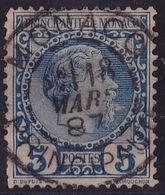 20517# MONACO N°3 PRINCE CHARLES III 5centimes Bleu Oblitéré 1887 - Monaco