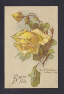 Carte Gaufree Embossed Catharina Klein Bonne Fete Roses Dorures ( Ref 40461) - Klein, Catharina
