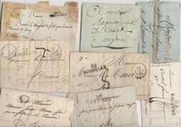 Lot De 30 Plis Des 18° Et 19° Siecles Avec Marques Postales Linéaires Avec Ou Sans Texte - Marcofilie (Brieven)