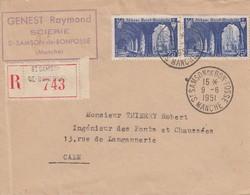 Env Reco Affr Y&T 842 X 2 Obl SAINT SAMSON DE BON FOSSE Du 9.6.1951 Adressée à Caen - Marcofilia (sobres)