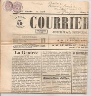 Blanc 2c Lilas Paire Sur Journal Courier De L' Ain De 29.9,10 Aviateur Chavez !! - 1900-29 Blanc