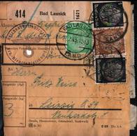 ! 1943 Paketkarte Bad Lausick Nach Leipzig In Sachsen, R.A.D. Lager, Reichsarbeitsdienst - Allemagne