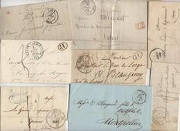 Lot De 60 Plis Du 19° Siecles Avec Marques Postales Cachet à Dates Type 11, 12, 13, 14  Avec Ou Sans Texte - Marcofilie (Brieven)