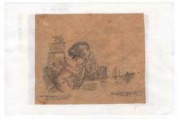 Henriette Bellair - Paris 17 Décembre 1904/Nantes 2 Juin 1963. Dessin Au Crayon De Bois Sur Calque Pour Fernand Hallien - Autres Collections