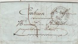 Lettre Cachet  78 TOULON SUR MER Var 26/10/1845 Pour M De Bellegarde Embrun Hautes Alpes - 1801-1848: Précurseurs XIX