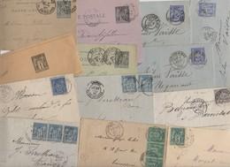 Lot De 50 Plis Lettres Classiques De France Avec Timbres Classiques Au Type SAGE De FRANCE  Avec Ou Sans Texte - Marcophilie (Lettres)