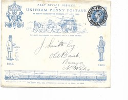 SH 0316. Enveloppe Décorative Post Office Jubilee 1 P - Uniform Penny Postage APSLEY  V. Banga - N. Wales. - Interi Postali