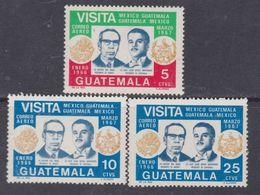 Guatemala PA N° 427 / 29 XX : Visite Du Président Du Mexique, La Série Des 3 Valeurs Sans Charnière, TB - Guatemala