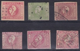LOT OF 6 STAMPS FAKE OR / AND DAMAGED, FROM BUENOS AIRES, ARGENTINA. FAUX ENDOMMAGE, FALSO DAÑADO, FALSE -LILHU - Buenos Aires (1858-1864)