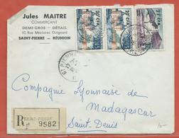 REUNION LETTRE RECOMMANDEE DE 1964 DE SAINT PIERRE POUR SAINT DENIS - Réunion (1852-1975)