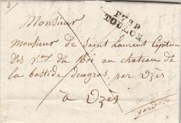 Lettre Marque Postale P78P TOULON Var 14/9/1824 à De Saint Laurent Capitaine Vaisseau Du Roi Bastide Engras UZES Gard - 1801-1848: Précurseurs XIX