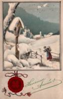 CPA - FANTAISIE - BONNE ANNEE - Carte Illustrée (Paysage D'hiver) ... - Anno Nuovo