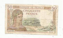 Billet ,France , Cerès ,  50 ,cinquante Francs ,16-4-1936 , 2 Scans - 1871-1952 Anciens Francs Circulés Au XXème