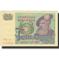 Billet, Suède, 5 Kronor, 1965-1981, KM:51d, TTB - Suède