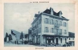 73 Novalaise La Place Le Grand Hotel Bellemin Noel Restaurant Cpa Vieille Voiture Auto - France