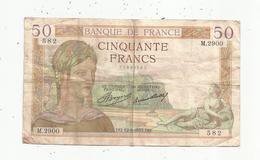 Billet ,France , Cerès ,  50 ,cinquante Francs ,12-9-1935 , 2 Scans - 50 F 1934-1940 ''Cérès''