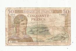 Billet ,France , Cerès ,  50 ,cinquante Francs ,28-5-1936 , 2 Scans - 1871-1952 Anciens Francs Circulés Au XXème